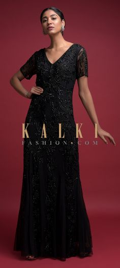 Ink Black Fish Cut Gown In Net With Embellished Floral Pattern Online - Kalki Fashion Anarkali, Lehenga, Fish Cut Gown, Black Fabric, Indian Wear, Salwar Kameez, Half Sleeves, Party Wear, Sequins