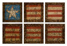 One Kings Lane - Rustic Americana - S/6 American Flag Wall Decor