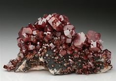 Classic, very aesthetic red crystal specimen of Vanadinite from Mibladen, Morocco.