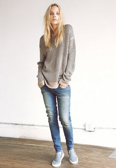 Very casual with slouchy jeans, slouchy sweater.  LOVE THIS!  Need some Vans