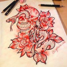 #flash #tattooflash #tattooart #sketch #draw #paint #traditional #tattoo #tattoos #traditionaltattoos #oldschool #skull #snake #rose #death