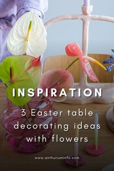 Easter is a great excuse to bring spring into your home. You can do this with traditional Easter decorations, but there are plenty of other options too. For us, flowers form the basis for a beautiful Easter table. You can place a nice bunch on the table, or be a little more creative. In this article we'll share 3 Easter table decorating ideas with flowers! | easter table decor ideas simple - easter brunch - easter decorations - easter decorations table - anthurium Pastel Flowers, Cut Flowers, Easter Table Decorations, Easter Traditions, Perfect Plants, Egg Cups, Easter Brunch, Pretty Pastel, Color Themes