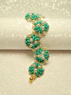 Petalis Parure (pendant + bracelet) - turkis og guld og hvide perler - superduo