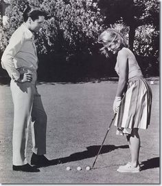 Elvis and Ann Margret playing golf. | golf | vintage | ladies | black and white | photography
