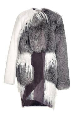 PRABAL GURUNG Asymmetric Mixed Fur Coat $23,550($11,775 deposit)