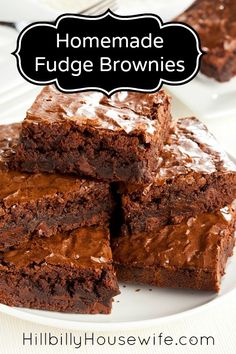 Fudge Brownie Recipe | Hillbilly Housewife. These are the best from scratch brownies we've ever made.