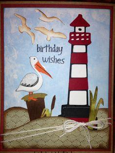Beach birthday card using cricut cartridge Life is a Beach