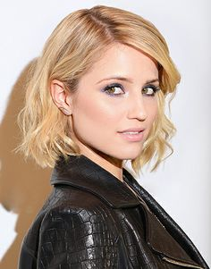 Someday I'll have a cute bob. Dianna Agron is rock and roll chic with a tousled lob
