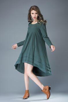 Teal Linen Dress Feminine Asymmetrical Short от YL1dress на Etsy