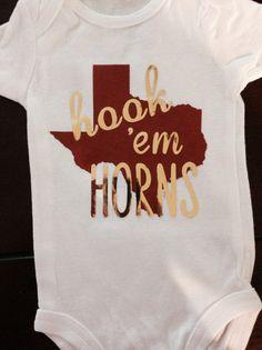 UT Onesie  Hook Em Horns Onesie or Toddler T Shirt  by TheJudeBug
