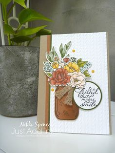 Mason Jar Cards, Mason Jars, Homemade Candles, Stamping Up Cards, Flower Cards, Stampin Up, Birthday Cards, Card Making, Place Card Holders