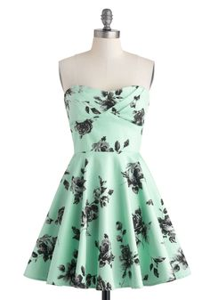 Traveling Cupcake Truck Dress in Mint Roses - Cotton, Mid-length, Mint, Black, Floral, Daytime Party, Fit & Flare, Strapless, Sweetheart, Party, Vintage Inspired