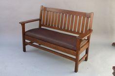 Circa 1910 Oak Arts And Crafts Antique Mission Settle, Sofa, Bench (7852) #artsandcrafts