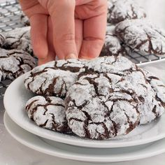 baking recipes Chocolate Crinkle Cookies - Fudgy on the inside with a crisp outside edge! So rich and decadent and adored by any and all chocolate lovers. Köstliche Desserts, Sweets Recipes, Delicious Desserts, Cake Recipes, Christmas Desserts, Christmas Treats, Christmas Cookies, French Dessert Recipes, Plated Desserts