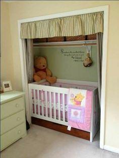 Crib in closet Crib In Closet, Baby Room Closet, Baby Bedroom, Baby Room Decor, Kids Bedroom, Bedroom Retreat, Master Bedroom, Apartment Nursery, Nursery Nook