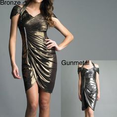 Issue New York Women's Lame Rhinestone Ruched Cocktail Dress