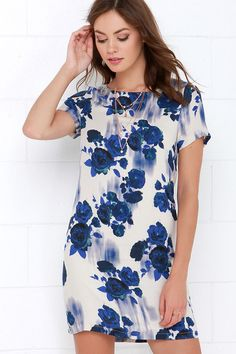 White Crow Desert Dream Blue Floral Print Shift Dress at Lulus.com!
