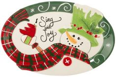 Get the Fitz and Floyd Holly Hat Snowman Sentiment Tray securely online here today. charingskitchen.com