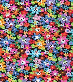 Novelty Cotton Fabric Flower SkullNovelty Cotton Fabric Flower Skull,