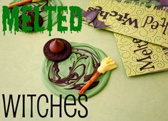 Melted Witches--Takes some green and dark chocolate candy melts, Oreo cookies, Hershey Kisses, yellow Laffy Taffy and pretzel sticks to make this Halloween treat.
