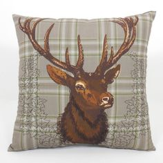Deer Head Throw Pillow ($24) ❤ liked on Polyvore featuring home, home decor, throw pillows, grey, lodge throw pillows, patterned throw pillows, grey accent pillows, lodge home decor and gray throw pillows