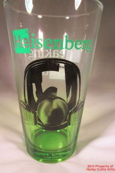 Breaking Bad Heisenberg 16 oz. 1 Pint Glass Green Shaded Br35 Ba56