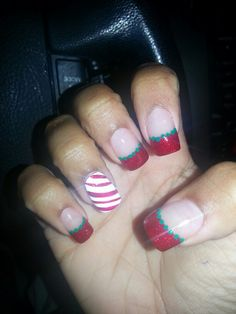 Merry Christmas nails, red, green, white, sparkle,  candy cane