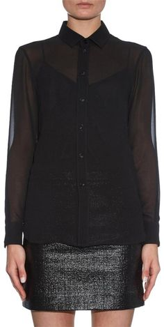 a235ae8072 Saint Laurent Black Sheer Silk-georgette Blouse Size 6 (S). Free shipping.  Tradesy