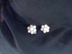 White Bead Cluster Earrings