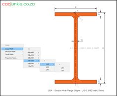 75 2D CAD Blocks: USA I Steel Section - Wide Flange Shapes - JIS G 3192 Metric Series CAD Format: AutoCAD 2013  Block Type: 2D Dynamic (1x75 Lookup Tables)  Units: mm  Description:  A dynamic block made using the ANSI Tables.  The block is parametric and uses lookup tables to produce 75 different blocks. The block can be edited to user dimensions with the standard AutoCAD Properties editor Steel Properties, Cad Blocks, Autocad, Editor, 2d, Tables, The Unit, Shapes, Type