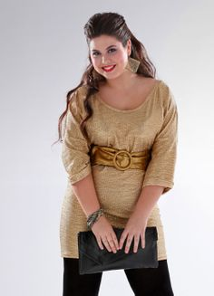 vestido-dorado-tipo-tunica-larga-escote-redondeado-manga-tres-cuartos-venca.jpg (1000×1389)