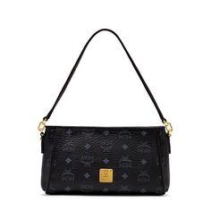MCM Small Color Visetos Shoulder Bag In Black