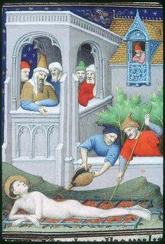 Châteauroux, Bibliothèque municipale, 02 (B. 252), f270v (St Lawrence martyred on a gridiron). Breviary of Louis de Guyenne. Paris, c.1414