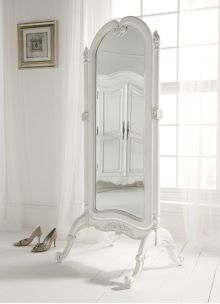 Heavenly Image Of Ikea White Mirror For Interior Decoration : Engaging Furniture For Home Interior Decoration Using Floor Standing Vintage Ikea White Mirror Including All White Interior Wall Paint And White Ceramic Home Flooring Shabby Chic Spiegel, Shabby Chic Mirror, Mirrored Furniture, French Furniture, Furniture Ideas, Art Deco Spiegel, How To Make Mirror, Cheval Mirror, Dressing Mirror