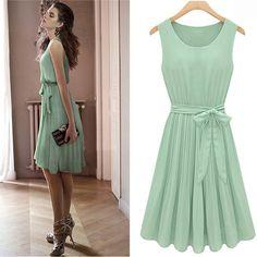 Pleated Sleeveless Chiffon Dress