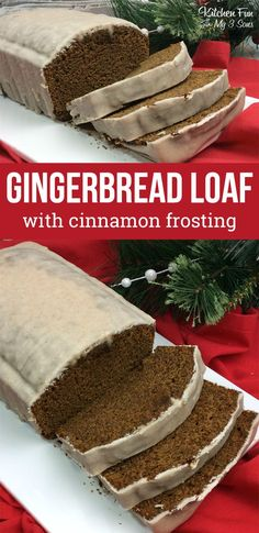 Gingerbread Loaf with Cinnamon Frosting. We love this delicious holiday bread recipe so much! Holiday Bread, Holiday Desserts, Holiday Baking, Just Desserts, Dessert Recipes, Christmas Sweets, Christmas Cooking, Christmas Foods, Homemade Christmas