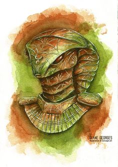 Stargate illustration of an Apophis jaffa armor in brown and olive watercolor with pencil and acrylic details. Made for an stargate Advent calendar. Stargate, Gods And Goddesses, Game Art, Egyptian, Comic Art, Watercolor Art, Advent Calendar, Concept Art, Snake