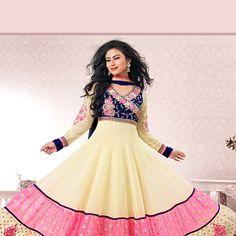Light Beige Faux Georgette Abaya Style Churidar Kameez Online Shopping: KAH101