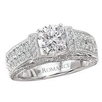 Beautiful diamond engagement ring with wide band, double row of round cut diamond accents