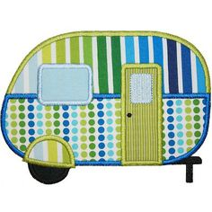 Camper Applique.  These fabrics not available.