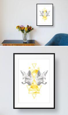 Liebevoll illustriertes Designposter Fuchs