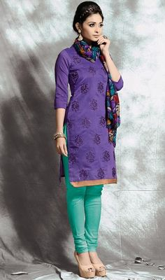 9e97bf50a4 Cast out in graceful readiness and vigor dressed in this purple color  embroidered cotton churidar dress