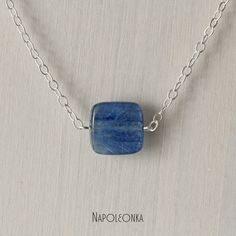 Silver necklace natural Kyanite Short Gemstone pendant Sterling silver Handmade Woman Girl Lady Gem jewelry Gemstone jewelry Necklace by Napoleonka on Etsy
