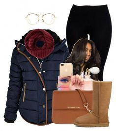 A fashion look from December 2016 featuring Boohoo leggings, UGG boots and MICHAEL Michael Kors shoulder bags. Browse and shop related looks. Cute Outfits For School, Cute Swag Outfits, Stylish Outfits, Look Fashion, Teen Fashion, Fashion Outfits, Fashion Trends, Fall Fashion, Fall Winter Outfits
