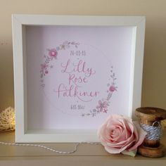 New personalised baby print in box frame £17 #baby #print #lettering #design https://www.etsy.com/listing/235309433/baby-girl-personalised-calligraphy