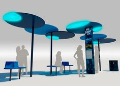 Award-winning design for Santa Monica's new Big Blue Bus Shelter by Lorcan O'Herlihy Architects and Bruce Mau Design Bus Stop Design, Blue Bus, Transportation Technology, Bus Shelters, Public Space Design, Shelter Design, Landscape Elements, Landscape Designs, Pergola Canopy
