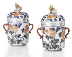 A Pair of Regence Silver-mounted Japanese Imari Porcelain two-handled Pots and Covers, the porcelain circa the silver mounts Paris, Sotheby's Chinese Ceramics, Japanese Ceramics, Japanese Porcelain, Fine Porcelain, Art Nouveau, China Painting, Bottles And Jars, Chinese Art, Auction