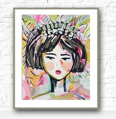 Warrior Girl Print woman art impressionist by Marendevineart
