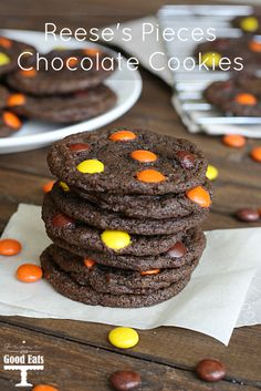 Reese's Pieces Chocolate Cookies- delicious rich chocolate cookies with peanut butter candies