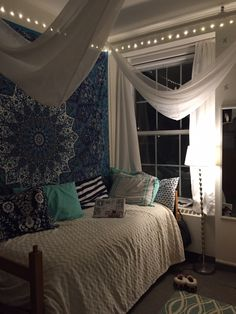 I Like The Colorful Pillows, White Curtains And Bed Spread Keep The Room  From Feeling Too Dark With The Big Tapestry Part 97